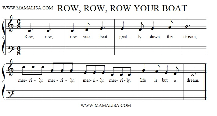 Sheet Music - Row, Row, Row Your Boat