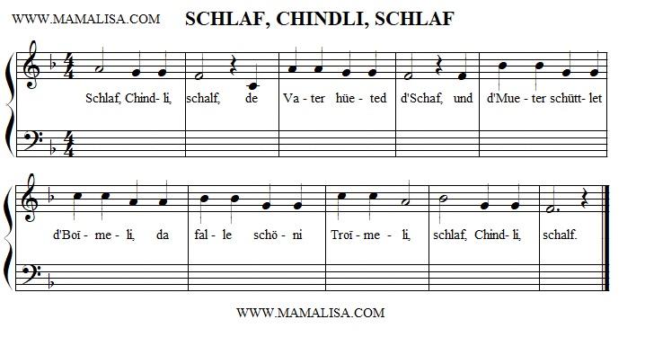Sheet Music - Schlaf, Chindli, schlaf!