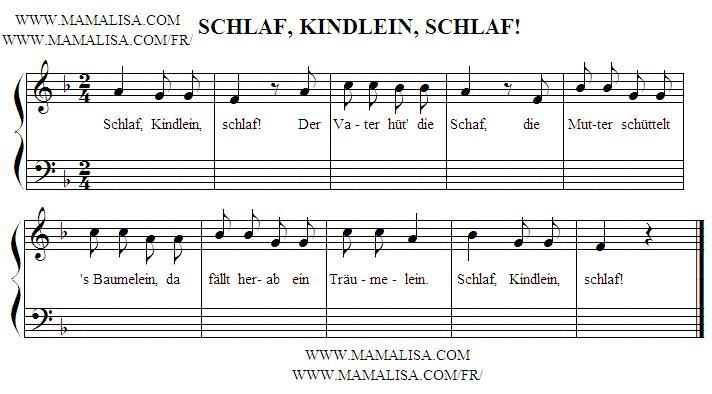 Partition musicale - Schlaf, Kindlein, schlaf! (II)