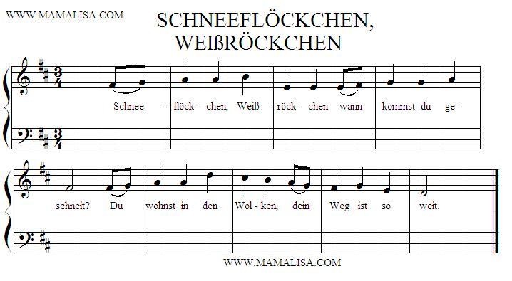 Sheet Music - Schneeflöckchen, Weißröckchen
