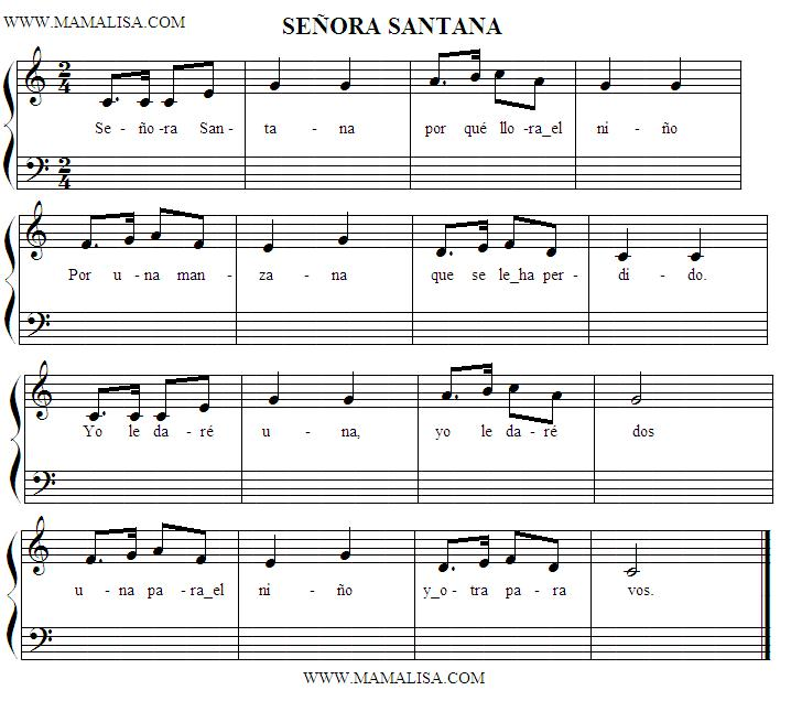 Sheet Music - Señora Santana