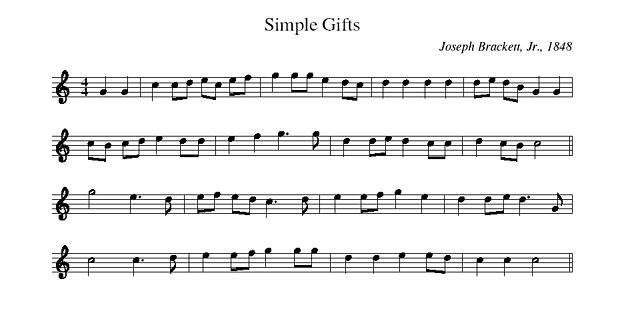 Partition musicale - Simple Gifts