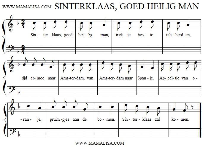 Sheet Music - Sinterklaas, goed heilig man