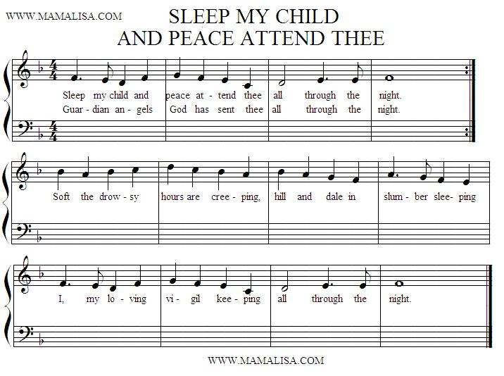Sheet Music - Sleep, My Child and Peace Attend Thee
