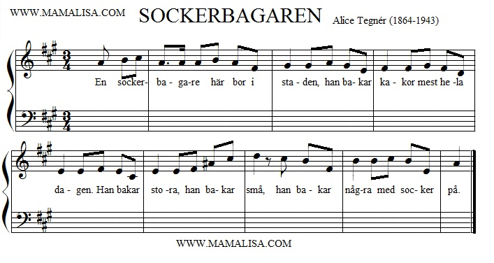 Partition musicale - En sockerbagare