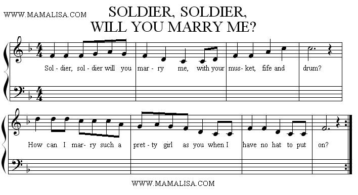 Sheet Music - Soldier, Soldier Will You Marry Me
