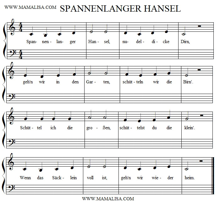 Sheet Music - Spannenlanger Hansel