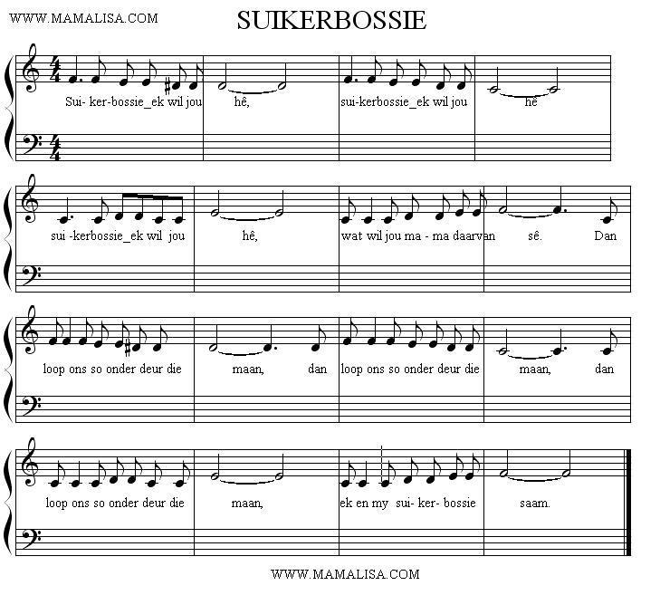Sheet Music - Suikerbossie ek wil jou he