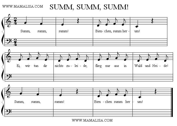 Partition musicale - Summ, summ, summ