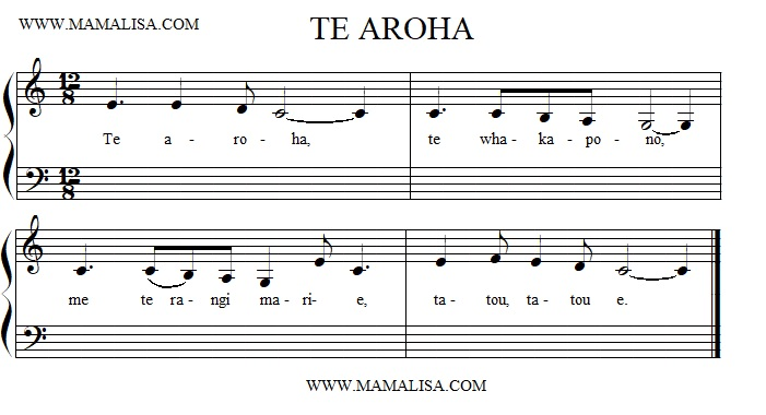Partition musicale - Te aroha