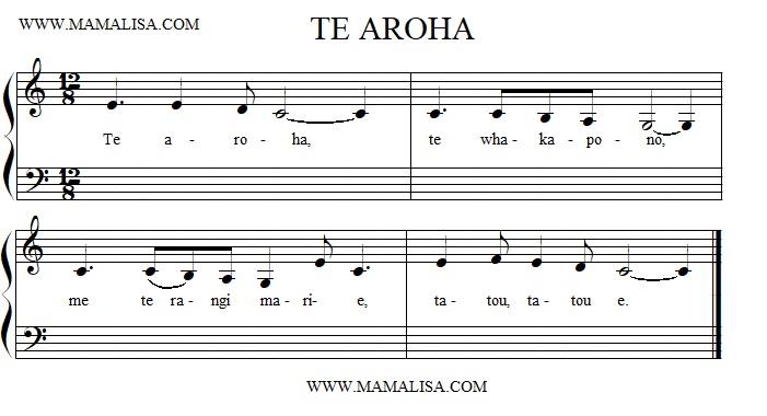 Sheet Music - Te aroha