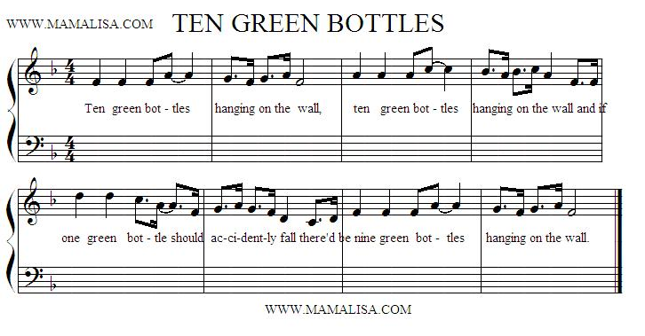 Partition musicale - Ten Green Bottles