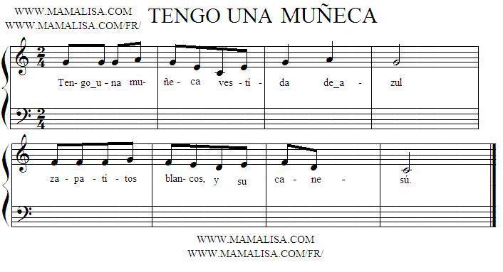 Sheet Music - Tengo una muñeca  - (Brinca la tablita)