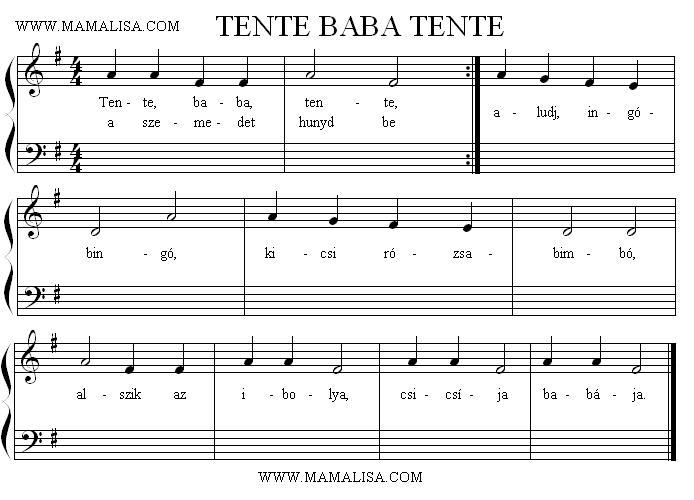 Partition musicale - Tente, baba, tente