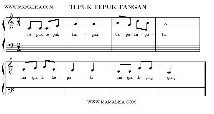 Sheet Music - Tepuk Tepuk Tangan