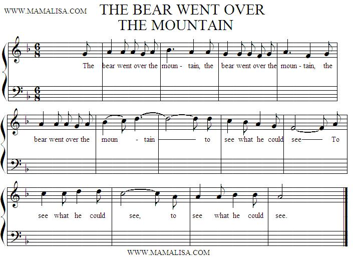 Sheet Music - The Bear Went Over the Mountain
