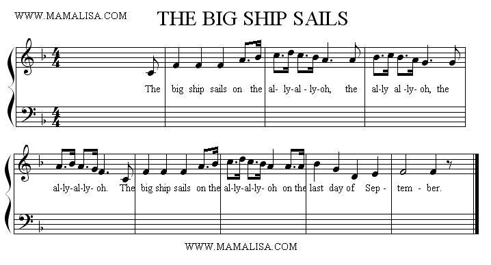 Sheet Music - The Big Ship Sails