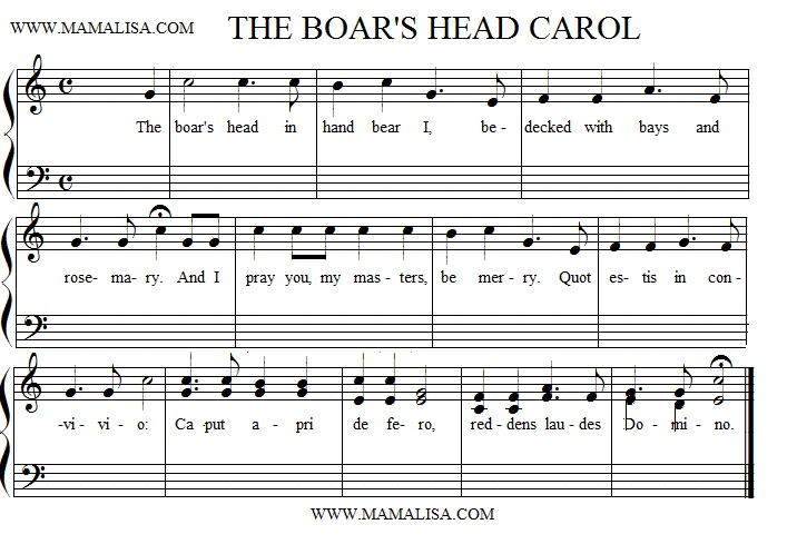 Sheet Music - The Boar's Head Carol