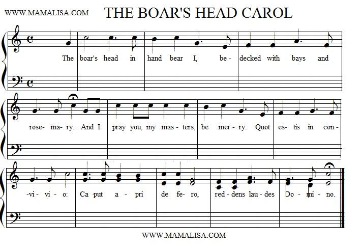 Sheet Music - The Boar's Head Carol
