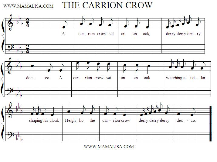 Sheet Music - A Carrion Crow Sat on an Oak