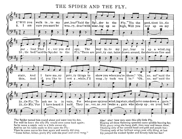 Sheet Music - The Spider and The Fly