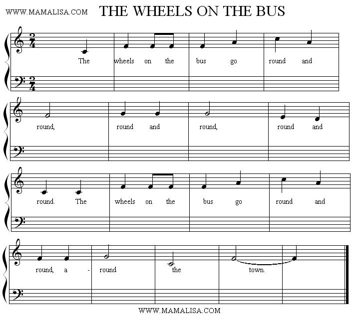 Sheet Music - The Wheels on the Bus