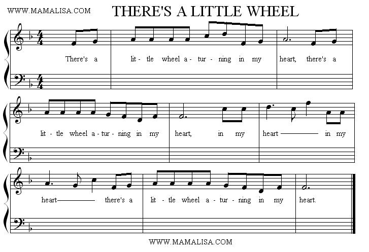 Partition musicale - There's a Little Wheel A-turning in My Heart