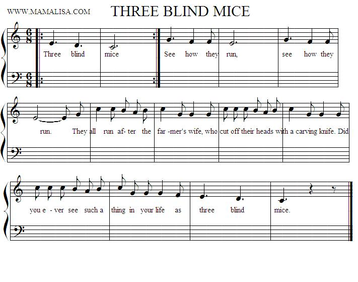 Partition musicale - Three Blind Mice