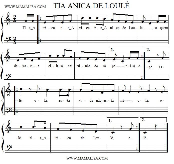 Sheet Music - Tia Anica
