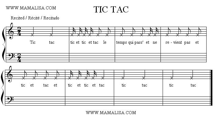 Partition musicale - Tic tac