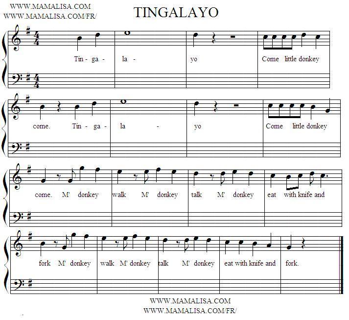 Sheet Music - Tingalayo