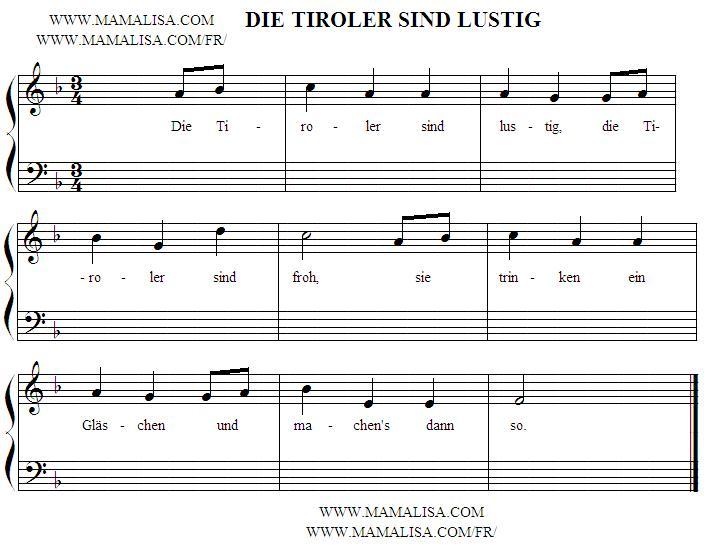 Sheet Music - Die Tiroler sind lustig