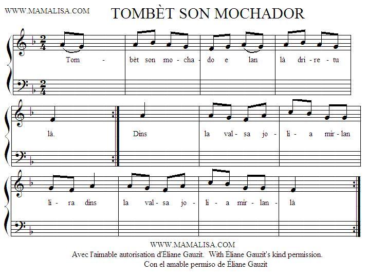 Partition musicale - Tombèt son mochador