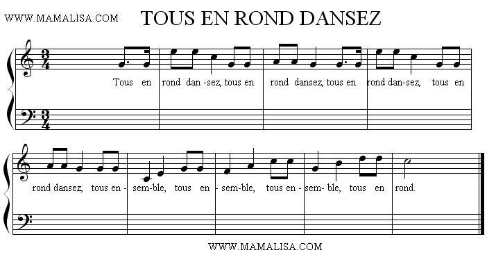 Partition musicale - Tous en rond dansez