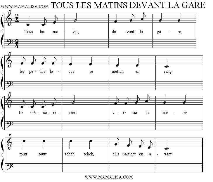 Sheet Music - Tous les matins, devant la gare