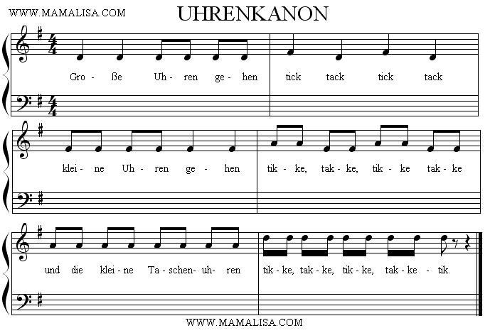 Sheet Music - Uhrenkanon
