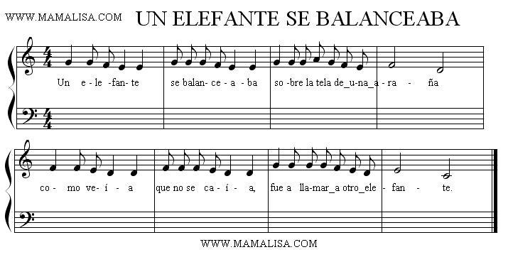 Sheet Music - Un elefante se balanceaba