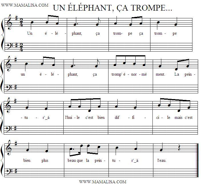 Partition musicale - Un éléphant, ça trompe, ça trompe