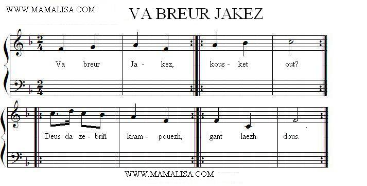 Partition musicale - Va breur Jakez