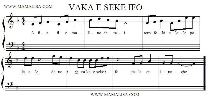 Sheet Music - Vaka seke ifo