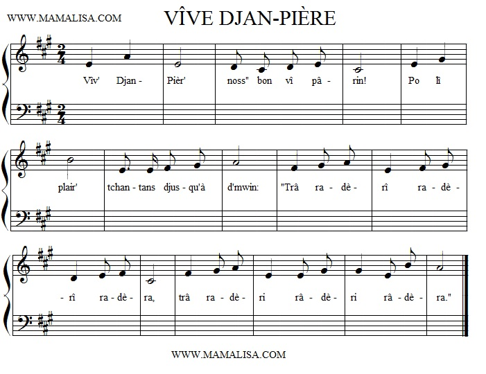 Partition musicale - Vîve Djan-Piêre