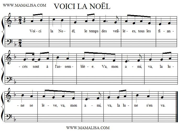 Partition musicale - Voici la Noël