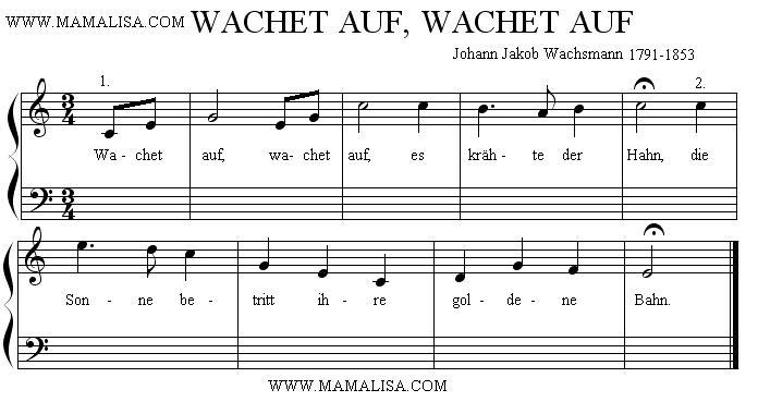 Partition musicale - Wachet auf, wachet auf