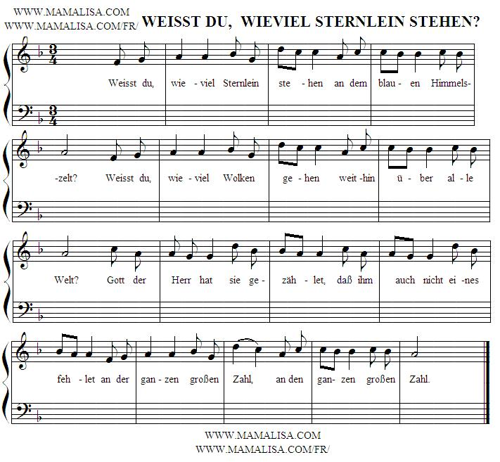 Sheet Music - Weißt du wieviel Sternlein stehen?