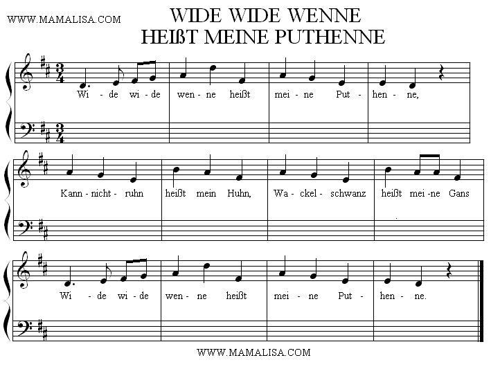 Sheet Music - Wide Wide Wenne heißt meine Puthenne