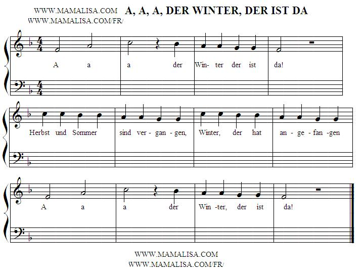 Sheet Music - A, a, a, der Winter, der ist da