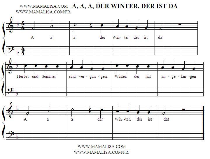 Sheet Music - A, a, a, der Winter, der ist da