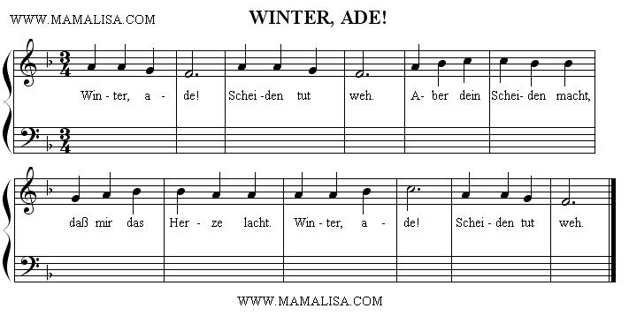 Partition musicale - Winter, ade!