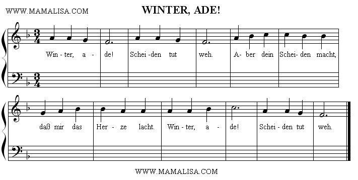 Sheet Music - Winter, ade!