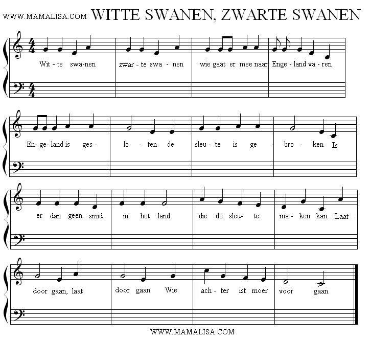 Partitura - Witte zwanen, zwarte zwanen
